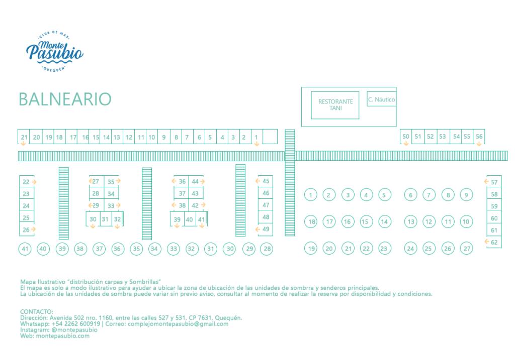 balneario monte pasubio - mapa ilustrativo distribucion sombrillas y carpas